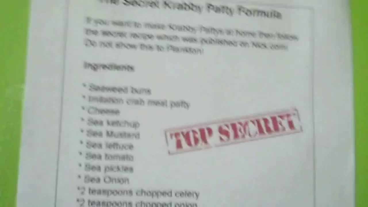 Real Krabby Patty Secret Formula krabby patty secret formula