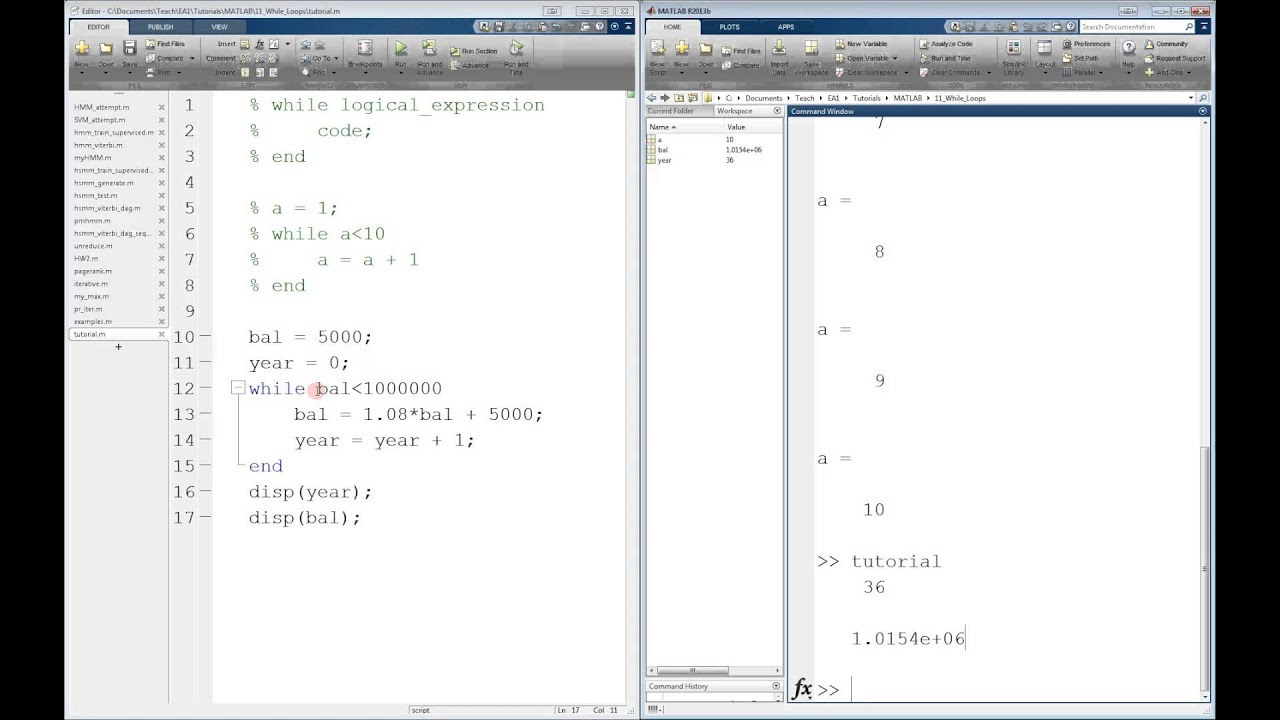 MATLAB - The for Loop