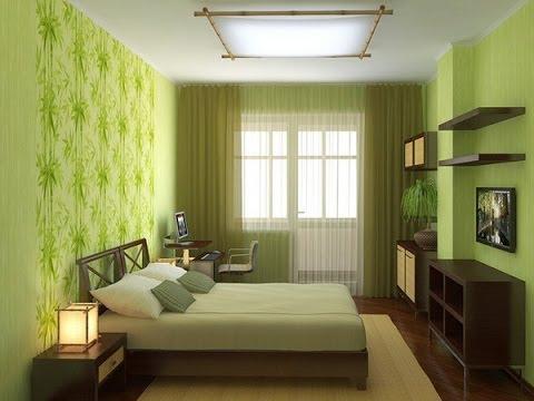 Интерьер спальни в салатовом цвете фото