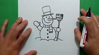 Como dibujar un muñeco de nieve paso a paso 4 | How to draw a snowman 4