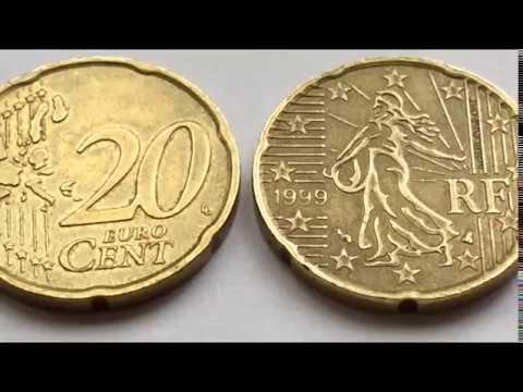 Rare 20 Euro Cent Coin 1999 France And 2002 Italy Macro Video редкие