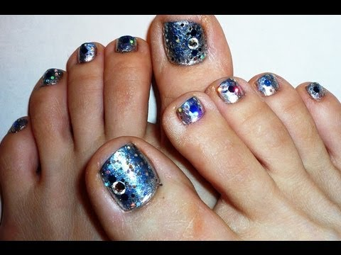 silver and blue glitters simple toe nail design  youtube