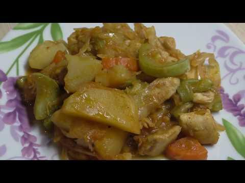 Рагу в мультиварке с кабачками и картошкой и капустой и мясом
