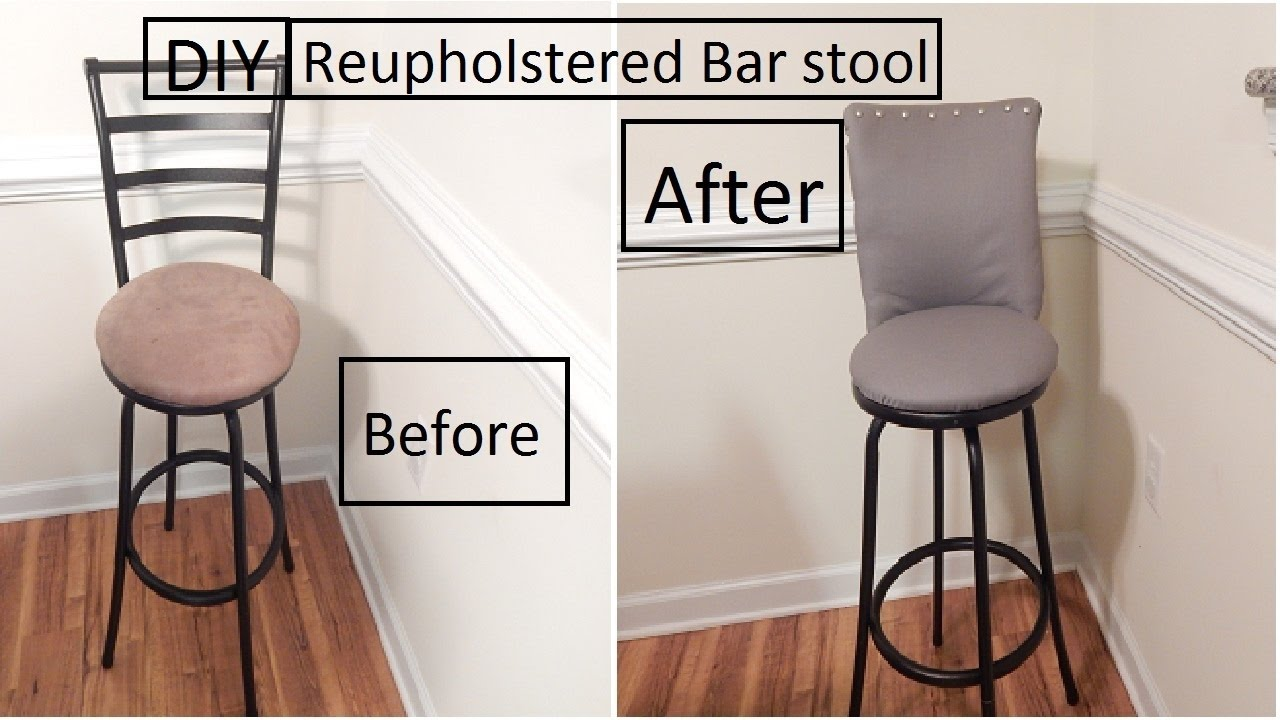 DIY Reupholstered bar stool