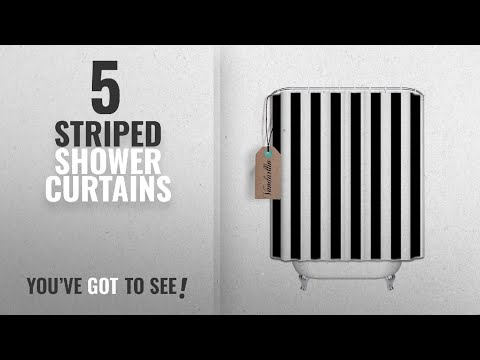 Top 10 Striped Shower Curtains [2018]: Extra Long Shower Curtain Fabric Shower Curtains Black and
