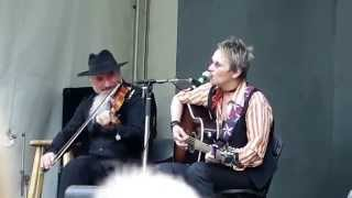 Mary Gauthier with Michele Gazich at the Vancouver Folk Music Festival Friday July 17, 2015