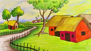 landscape drawing farm coloured easy draw very step landscapes scenery drawings