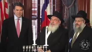Gov. Perry Participates in Lighting  Hanukkah Menorah & Then Dances with Chabad Rabbi's