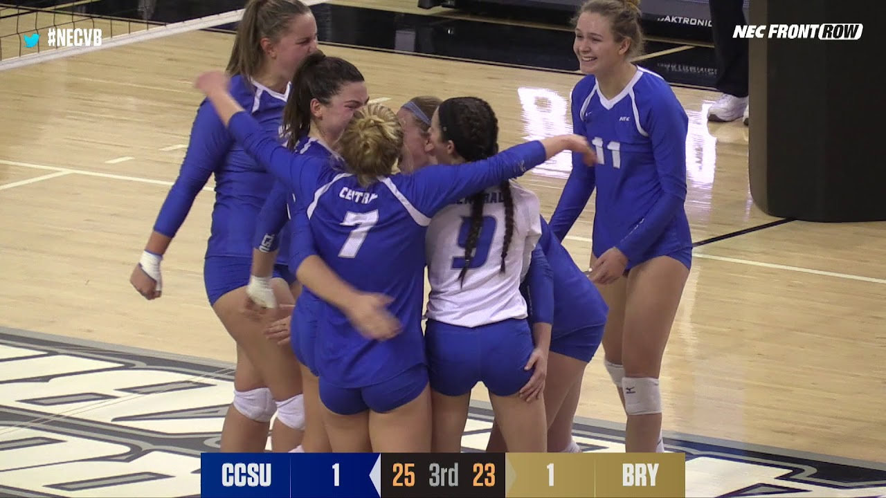 2018 Necvb Bryant Outlasts Central Connecticut In Epic 5 Set Match Youtube