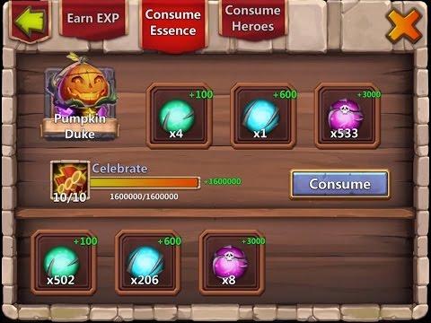 Castle Clash - 10/10 Skill Pumpkin Duke + Rolling 24k Gems !