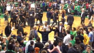 Isaiah Thomas, Boston Celtics crowd ackowledge each other after Game 5