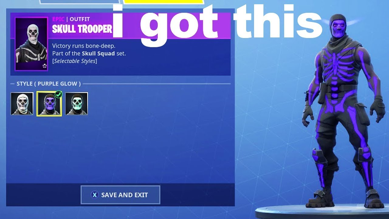 I tried unlocking Purple Glow Skull Trooper with a Fortnite GLITCH and got  this