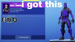 I tried unlocking Purple Glow Skull Trooper with a Fortnite GLITCH and got this...