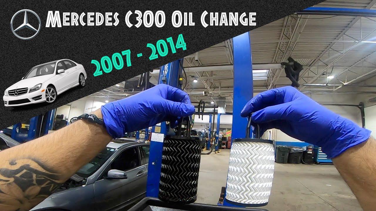 mercedes c300 oil change - youtube