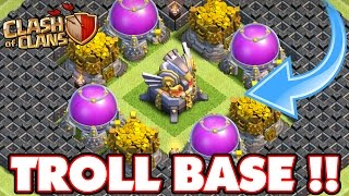 clash of clans   incredible eagle artillery troll base town hall 11 max troll base