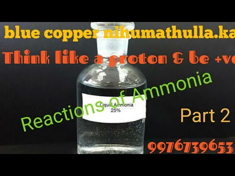 Reactions Of Ammonia, Reaction With Acid, Reaction With Chlorine, Reaction With Metals