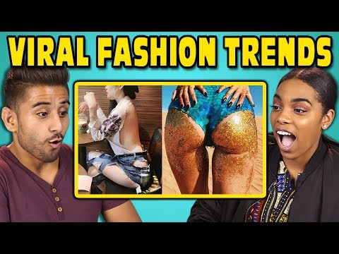 Thumbnail: COLLEGE KIDS REACT TO VIRAL FASHION TRENDS (Glitter Booty, Clear Pants, Mud Jeans)