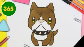HOW TO DRAW A CUTE pit bull dog KAWAII