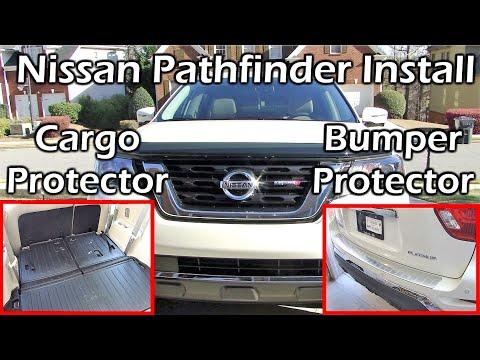 2017 Pathfinder Install Rear Bumper Protector + Cargo Protector + All Season Floor Mats