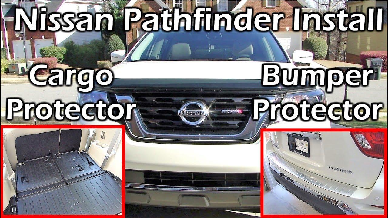 Nissan Floor Mats >> 2017 Pathfinder Rear Bumper Protector + Cargo Protector + All Season Floor Mats - YouTube