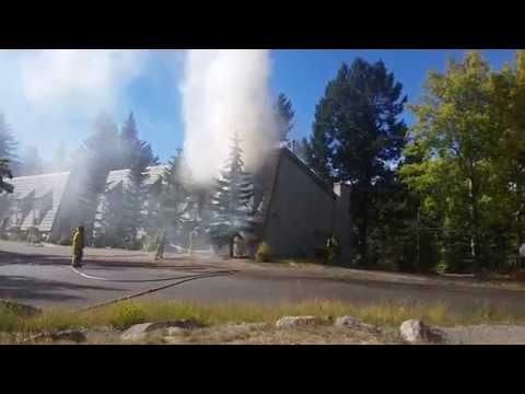 Banff Canada / burning Hotel / Tunnel Mountain Resort Hotel is burning
