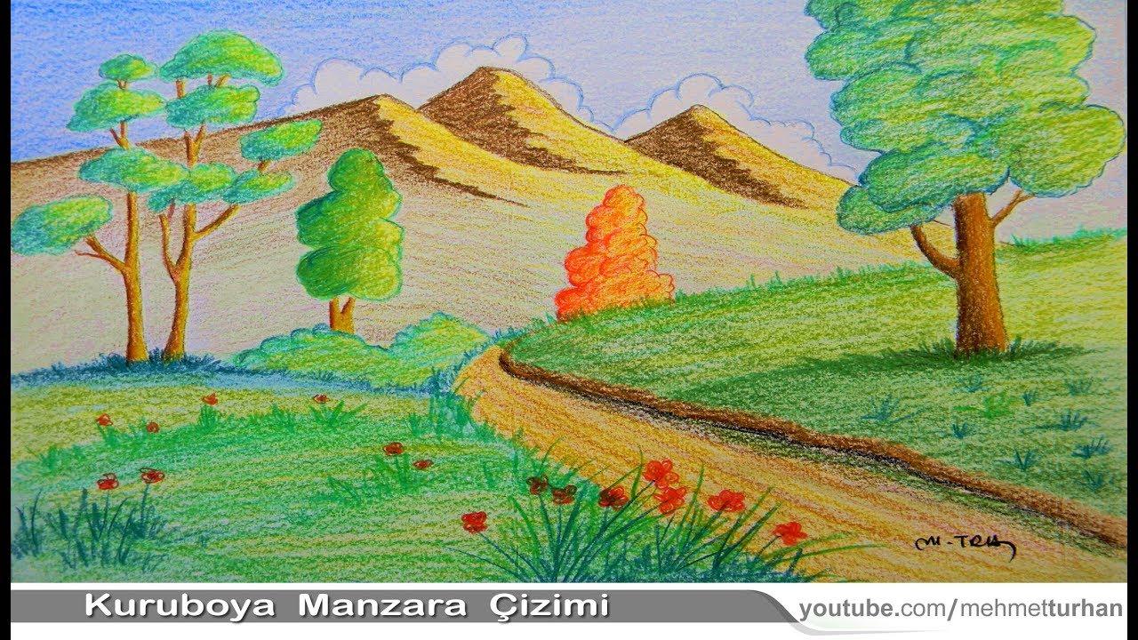 Kuru Boya Peyzaj Manzara Cizimi Easy Landscape Or Scenery