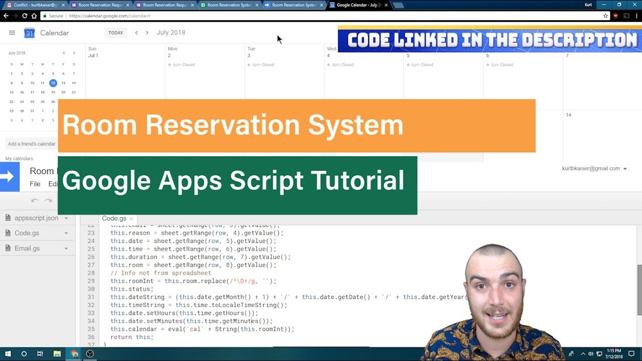 Google Calendar Room Reservation and Booking System Using Apps Script API
