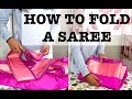 How To Fold a Saree After Pleating & Ironing For Travel Tutorial   Thuri Makeup