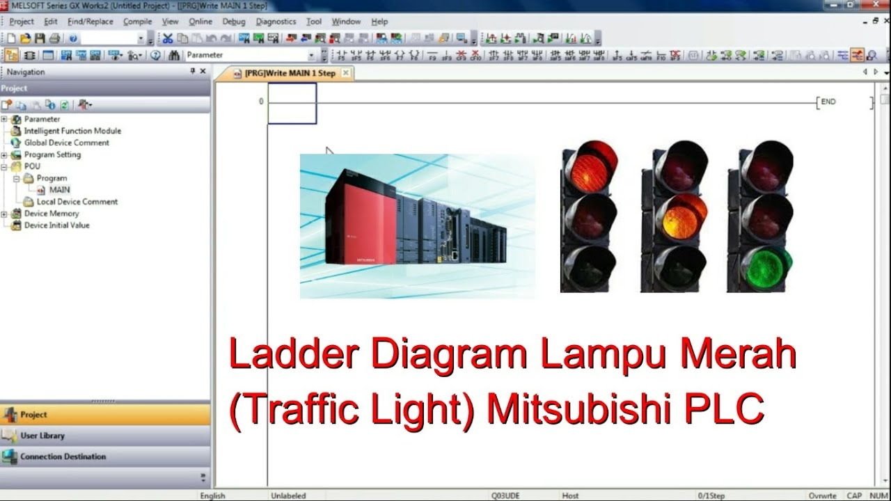 Basic Ladder Diagram Lampu Merah  Traffic Light  Mitsubishi Plc