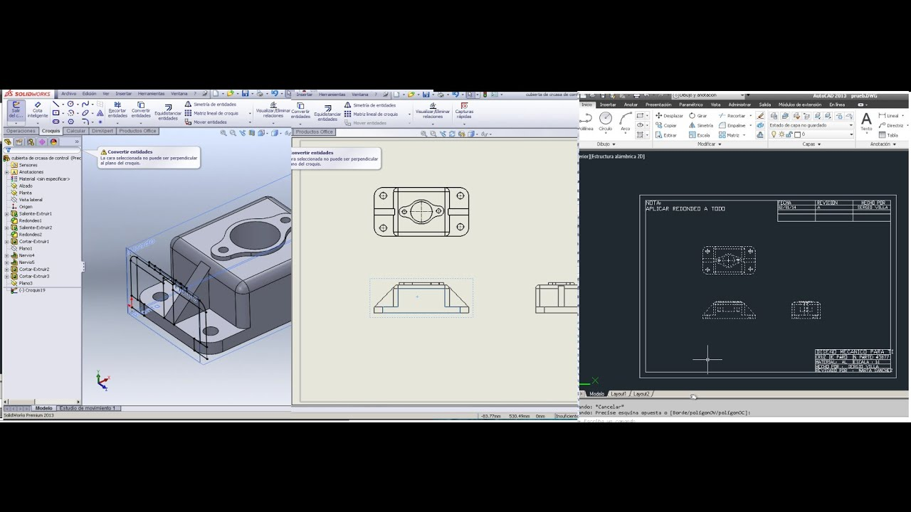 Sistema de tres planos para dibujo de detalle 100 for Aplicacion para planos