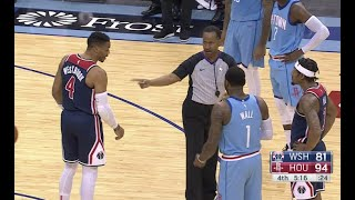 Russell Westbrook And John Wall Jawing During Wizards-Rockets Game