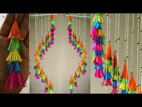 Colourful paper wind chime / multi colour paper jhumar / bes out of waste