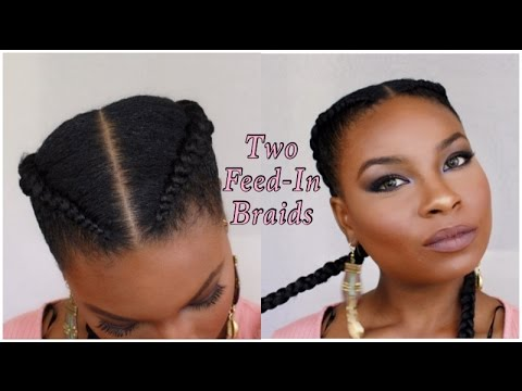 Watch Me Braid My Hair Two Feed In Braids Youtube