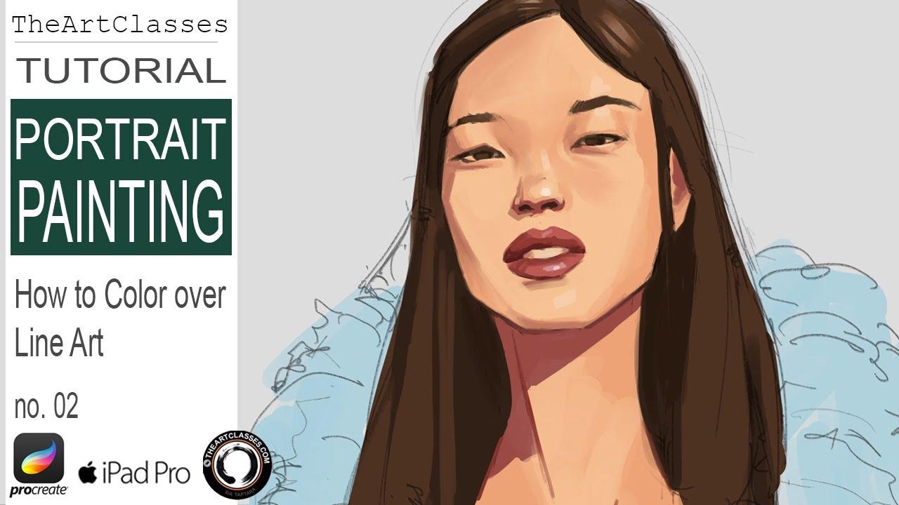 How To Color Line Art Ipad Procreate Tutorial Portrait Painting B Youtube
