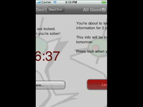 DON'T DIAL -- iPhone App that Prevents Drunk Dialing!