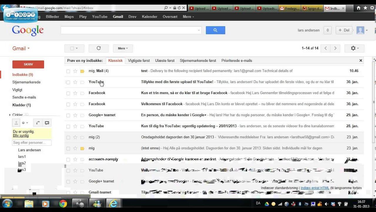 Log ind på gmail og skrive en mail 1 - YouTube