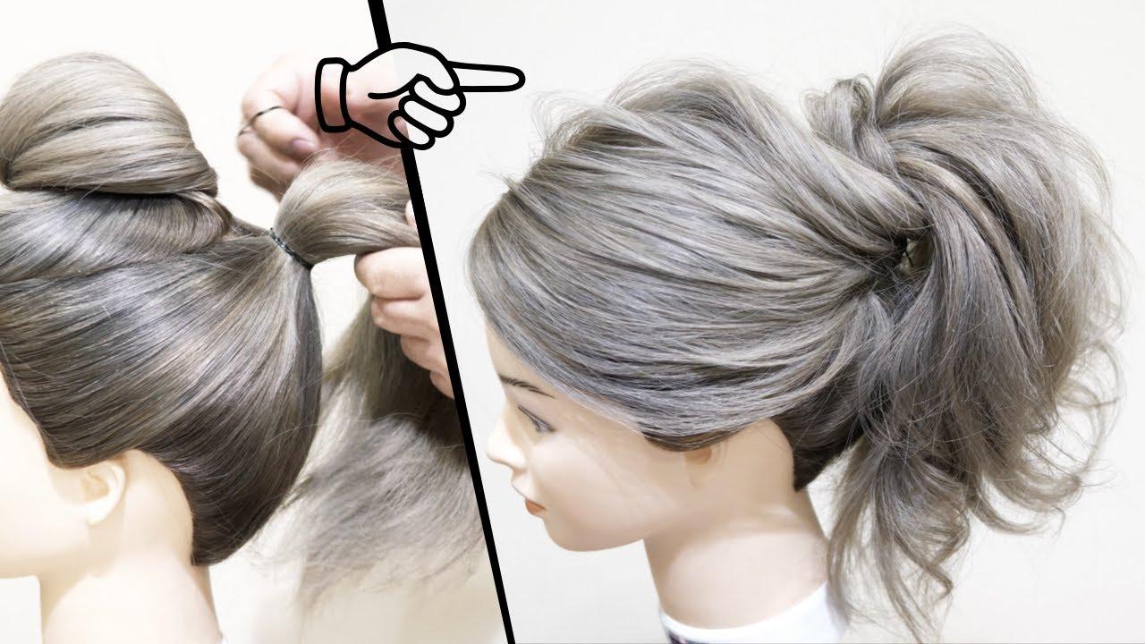 初心者の方必見! 簡単! ロープ編み1本とねじるだけ!誰でもできます!ゆるふわポニーテールのヘアアレンジ!HOW TO: EASY PONYTAIL   Perfect Prom Hairstyle