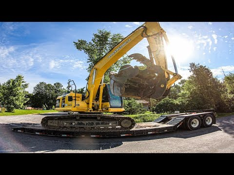 floating-20-ton-excavator-to-job-site-(truckin'-vlog)