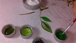 Pintura em tecido Folhas da Carambola Parte 1
