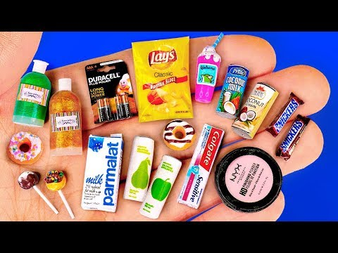 22 DIY Miniature Hacks 〜 Makeup, Chips Lays, Coconut milk, Toothpaste and more