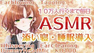 【ASMR/Binaural】添い寝ささやき睡眠導入 Sleep, Relax【Whispering,Ear Cleaning/Dummy Head Mic KU100】