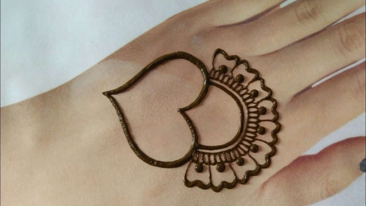 Beautiful back hand mehndi design||Simple easy henna mehndi||Trick mehndi||Heart shape mehndi design