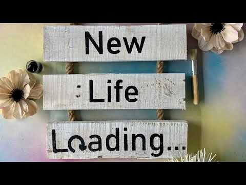 New Life Loading - Rustic Whitewashed Reclaimed Wood Rope Ladder Sign DIY Craft Kit