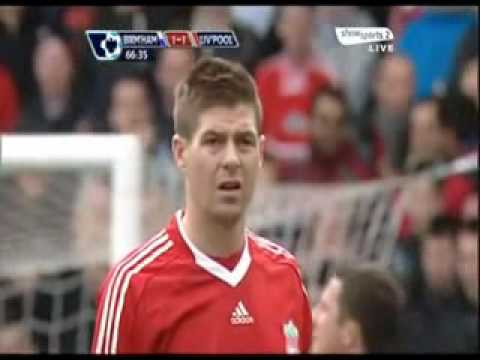 On this day in 2010, Steven Gerrard's reaction to Fernando Torres being substituted