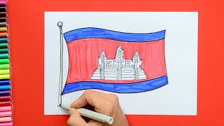 How to draw and color the National flag of Cambodia