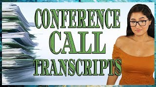 Conference Call Transcripts | Hot Stock Girl