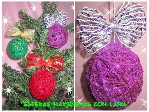 Manualidades esferas navide as con lana youtube for Manualidades para ninos con lana