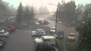 Град. Курск. 24 мая 2013 года сильный дождь потоп жесть лето