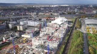 Le centre commercial Muse à Metz vue d'en haut.