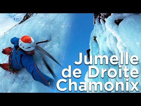 Jumelle de Droite Cascade de glace Glacier d'Argentiere rive droite Chamonix montagne alpinisme